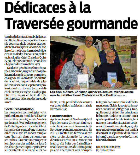 article_Sud_Ouest_Christian_Qunincy_2018_Edilivre